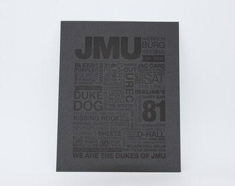 JMU Letterpress Print (Black Ink on Grey Paper)