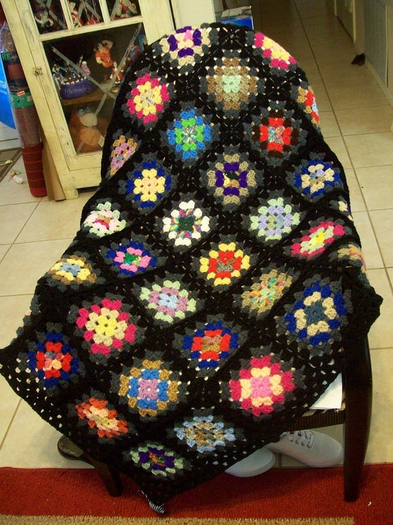 Traditional style Crochet Granny Square Throw Afghan edged in charcoal and black