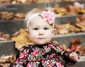 Solid Color Hand Sewn Bouquet of Felt Flowers Headband- Many Colors Available- Perfect for Babies, Girls, or Women