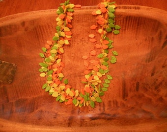 Fantastic Vintage Plastic 1960s Fall Leaves Necklace