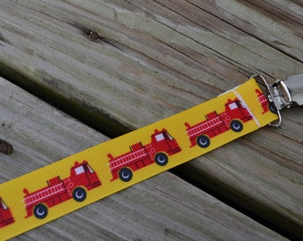 Ribbon Pacifier Clip-Firetrucks