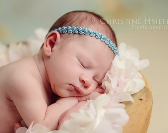 reversible aqua/teal Newborn baby girl halo headband photo prop READY TO SHIP