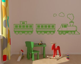Train Wall Decal, Children Wall Decal, Nursery Wall Decal, Nursery Wall Decor, Train Decor, Locomotive Caboose Engine Decal