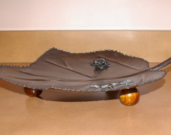 Large Leaf Tray, Made in  India,  Frog, Lizard,  Wood Footed, Vintage late 1980's to 1990