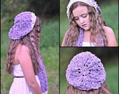 Custom crocheted slouchy beanie and scarf set