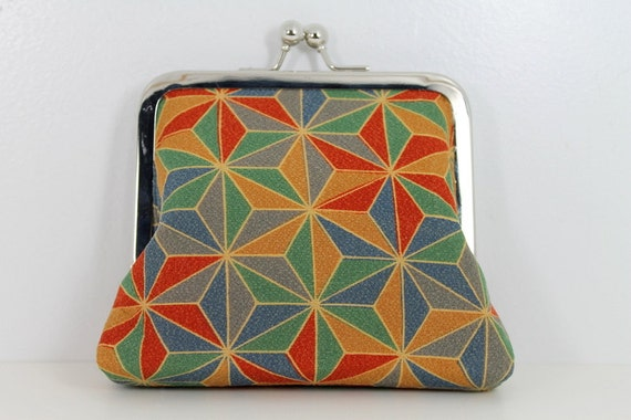 SALE: 1960's Vintage Kimono Colorful Geometric Small Kiss Lock Wallet Clutch