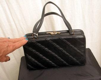Vintage 1960's Black Textured Handbag by Ingber