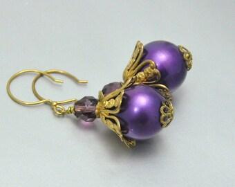 Purple Pearl Earrings Vintage Brass Filigree Dangles