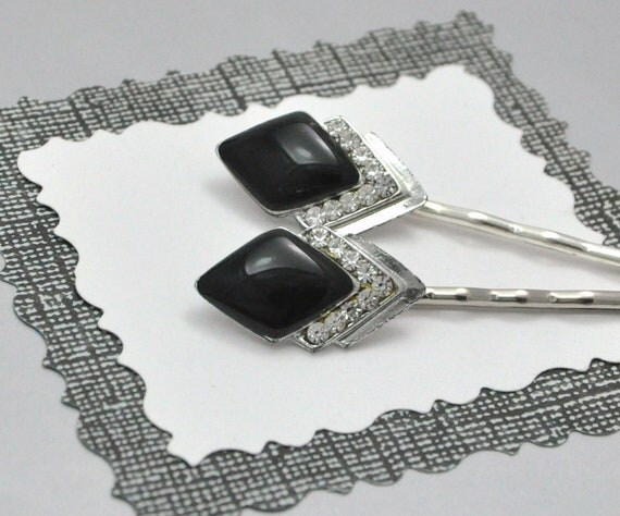 Art Deco Bobby Pins Black and Silver Vintage Rhinestone Bobby Pin Set