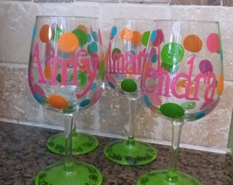 Girl's Weekend Handpainted and Personalized Wine Glasses, Pilsner glasses, Martini etc glasses for Wedding Party Etc. Etc.