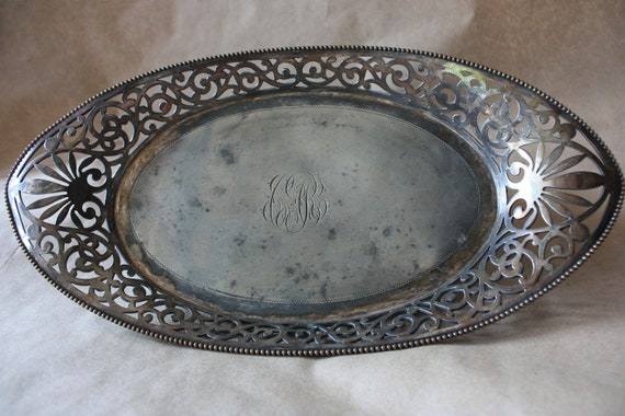 Antique Engraved Decorative Silver Tray-early 1900s