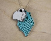 "Charm Necklace ""The Blogger"" - Classic Diner Coffee Mug & Vintage Typewriter"