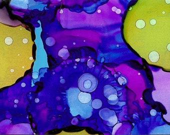 Original Alcohol Ink Painting ACEO, bright, purple, fun original art