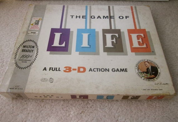 1960 GAME of LIFE Board game Original Box 3-D Action Game