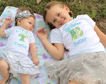 Big Sister Shirt - Little Sister Shirt - Big Sister Little Brother Shirts - Big Sister Initial Shirt