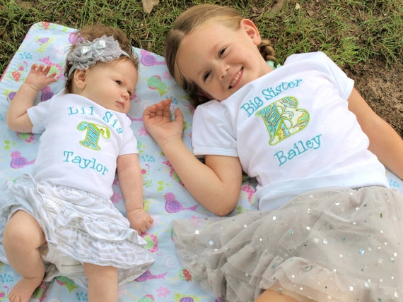 Big Sister Shirt - Little Sister Shirt - Big Sister Little Brother Shirts - Big Sister Initial Shirt