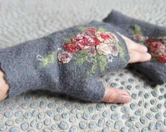Felted  merino wool fingerless gloves, women mittens, grey arm warmers, retro style silk rose flowers, birthday gift- handmade to order