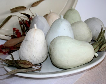 Three pale earthenware pears. Hand made ceramic sculpture, hand painted, spring, sea foam, white,  pastel, pale.