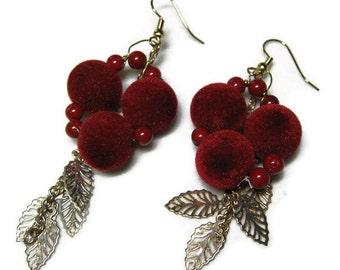 Christmas Berry Dangles, Red Berry Earrings, Red Velvet Dangle Earrings