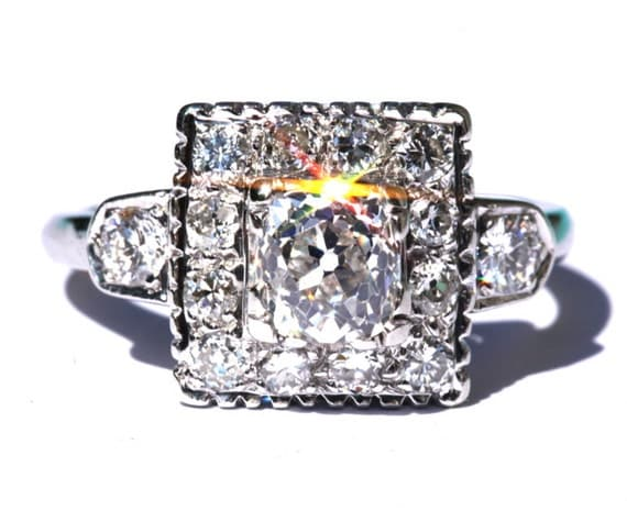 OLD as The HILLS - Antique - Cushion Cut - Old Mine - Diamond Engagement ring - Halo - 1800s - 14K white gold - Make An Offer - BpT05