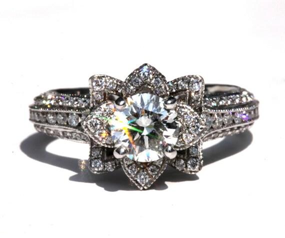 MILGRAIN - Gorgeous UNIQUE Flower Lotus Rose Diamond Engagement Ring - 2.50 carat - 14K white, rose, yellow gold - custom - art deco - fL04