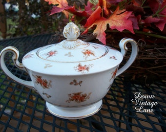 Noritake China Sugar Bowl Vintage FALL COLORS