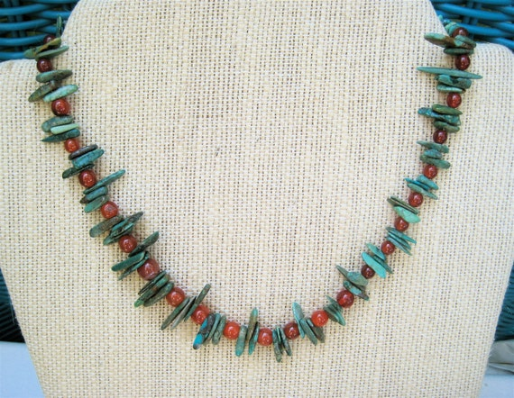 Carnelian and Turquoise Choker with Rust Orange Carnelian and Natural Blue Green Turquoise Chips