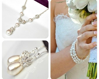 Wedding Jewelry SET Bridal, Pearl Rhinestone Jewelry SET, Art Deco Wedding Jewelry