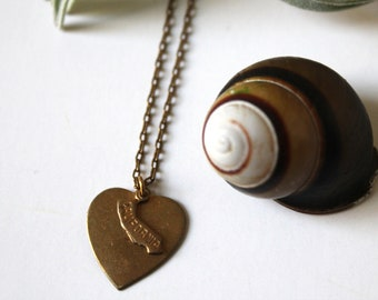 My California Heart Charm Necklace (vintage brass heart and California state charm) w Free Custom Engraving