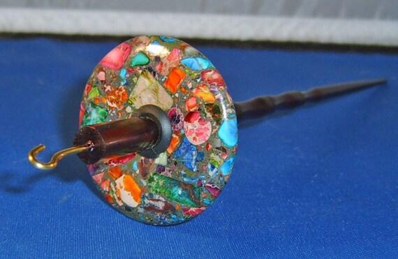 1.0 oz Rainbow Stone Top Whorl Drop Spindle - Handmade