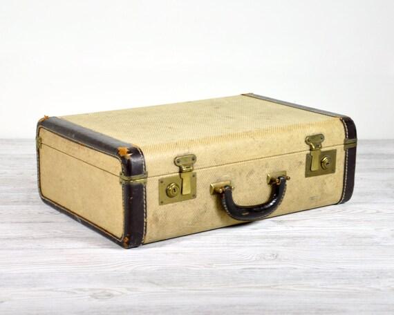 Vintage 1920's Jute Suitcase / Vintage Luggage