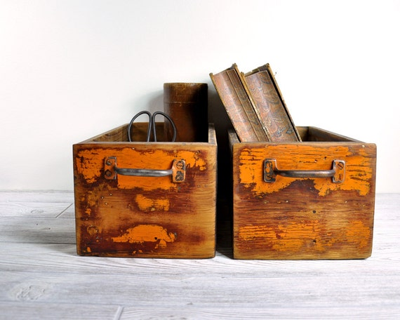 RESERVED - Vintage Rustic Painted Wood Drawer / Industrial Storage / Wooden Box