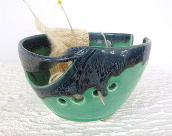 Yarn Bowl, Knitting Bowl, Ceramic Mint Green Blue, Knitting supplies wool storage twisted leaf Marietta blueroompottery MADE TO ORDER