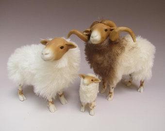 Dutch Porcelain and Alpaca Sheep Figures,  Drenthe Heath Family