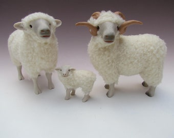 Sheep FIgures, in Porcelain and Wool,  New Zealand  Drysdale Family