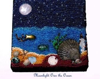 Moonlight Over the Ocean- Bead embroidery- OOAK art- mixed media art- bead art- handmade art- bead collage- home decor- wall art- gift
