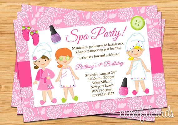 Spa party kids birthday invitation zoom stopboris