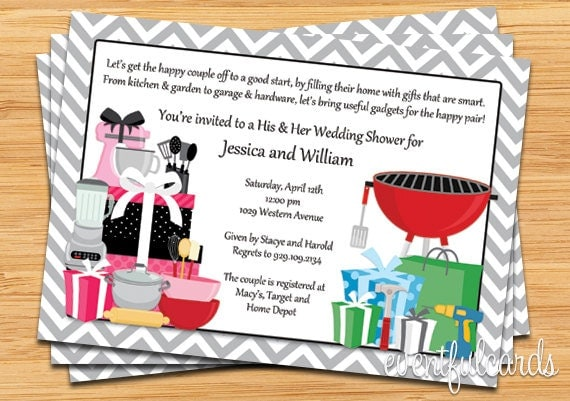 his and hers couple wedding shower invitation,