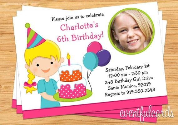 Little girl birthday party invitation with photo by eventfulcards il570xn filmwisefo