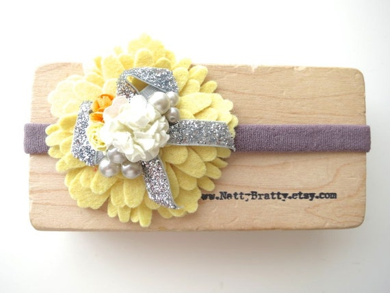 Fancy Felt Flower Headband Hair Band for Baby - Yellows and Greys - Glitter and Pearls - Special Occasion Flower Girl