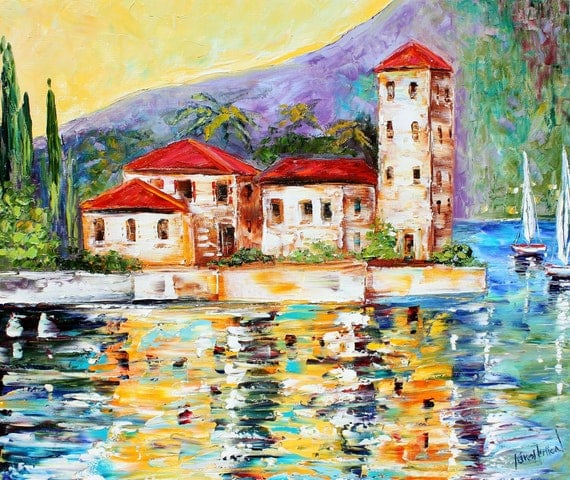 Oil Original Lake Como ITALY Boats palette knife on canvas modern fine art impressionism fine art by Karen Tarlton