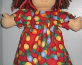 Flannel nightgown made to fit the Waldorf style  15 inch dolls