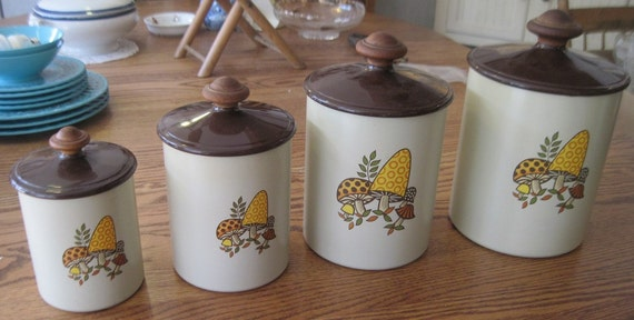 vintage 1970 s cannister set with fantastic funky vintage funky orange amp white floral kitchen canisters set