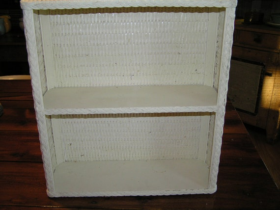 Vintage White Wicker Shelf Unit Wall Hanging 2 Tiered