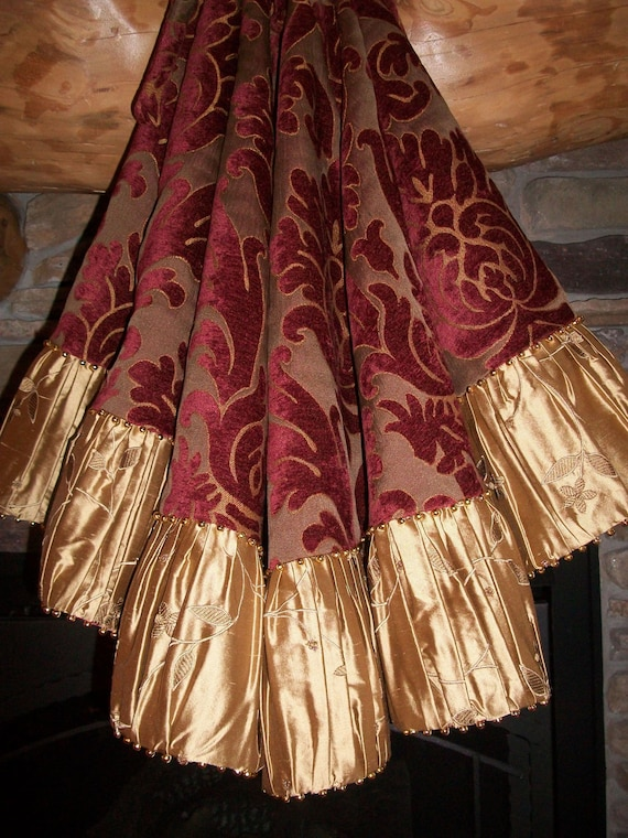 """56"""" Exquisite Wine Damask and Gold Satin Beaded Christmas Tree Skirt 2012 Collection READY TO SHIP"""
