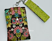 Pink Blush Rose Damask Paisley Emberglow Aqua Teal and Lime Phone Case with Wristlet iPhone 6 Plus