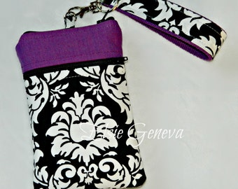 Purple Black and White Damask Phone Case with Wristlet and Zipper Closure Includes Back Zipper Pocket iPhone 4 5 6 Samsung Note