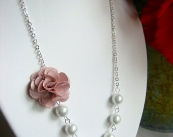 Pink Silk Flower Necklace With Cream Pearls Perfect Bridesmaids Necklace With Antique Pink Rose