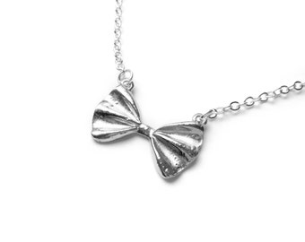 Bow Tie Necklace In Silver - Simple Jewelry - Minimalist Jewelry - Small And Sweet