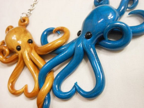 Intertwined Octopi in love Necklace, gold and peacock blue